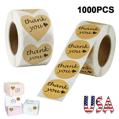 1000 Pcs Kraft Paper Thank You Adhesive Sticker Heart and Round Shape 2 Patterns
