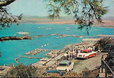 Gibraltar - view of town & harbour - Plastichrome postcard c.1960s