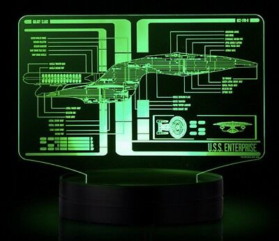 Star Trek Schematic Illuminated Display. USS Enterprise / USS Enterprise D! New!
