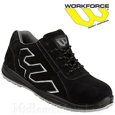 Workforce Steel Toe Cap Black Suede Safety Shoes. Trainers Boots Lightweight 31