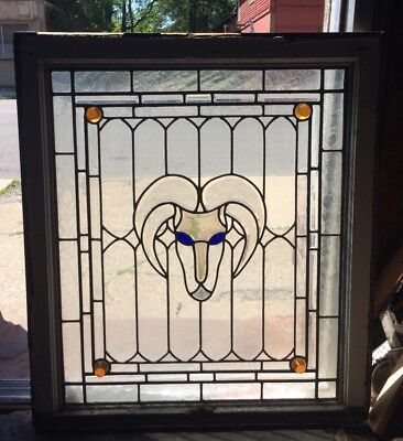 Rare 1885 Louise Bethune Buffalo Architectural Stained Leaded Glass Ram Window