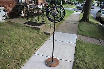 "Antique Architectural Garden Sphere Globe-62"" Tall-Cast Iron-Gyroscope-Rotates"