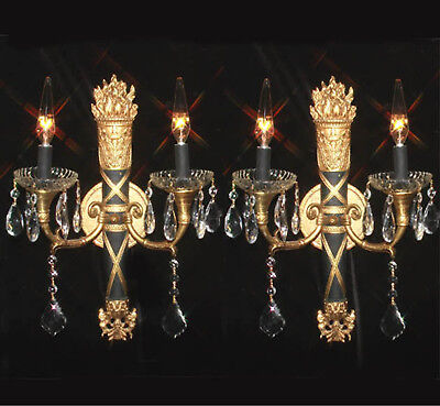 2 Vintage Bronze Brass SCONCE Bow Spain French crystal prisms Neoclassical Black
