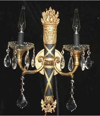 1 Vintage Bronze Brass SCONCE Bow Spain French crystal prisms Neoclassical Black
