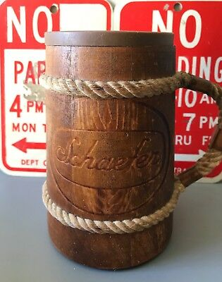 Vintage Wooden Schaefer Beer Mug