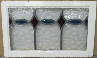 """MID SIZED OLD ENGLISH LEADED STAINED GLASS WINDOW Abstract Arches 26"""" x 16.25"""""""