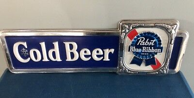 (VTG) Pabst Blue Ribbon Cold Beer Large Plastic Sign Game Room Bar WOW