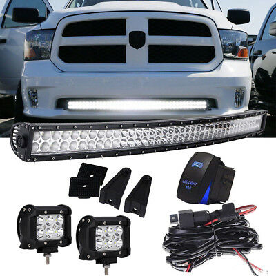 "40"" 42"" LED Light Bar w/ Bumper Brackets, Wirings For 2009-18 RAM 1500 Express"