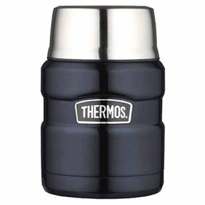 Thermos Stainless King 16 Ounce Food Jar with Folding Spoon Midnight Blue Drink