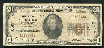 1929 $20 First Wayne National Bank Of Detroit, Mi National Currency Ch. #10527