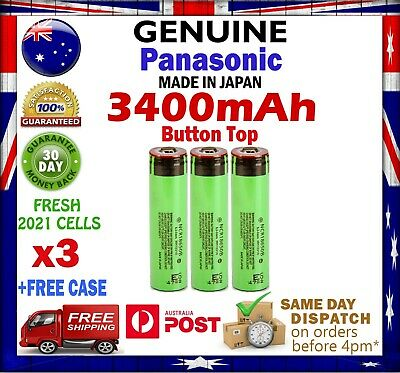 3x Panasonic NCR 18650 B 3400mAh Li-Ion Rechargeable Battery GENUINE Button Top