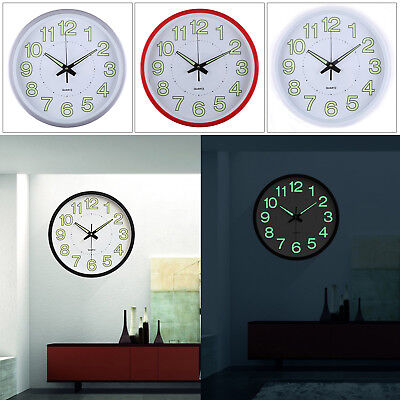 12'' Wall Clock Glow In The Dark Silent white Noctilucent Quartz Indoor/Outdoor
