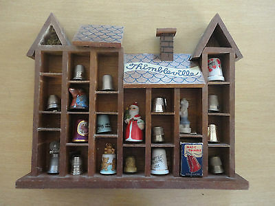 Vintage ENESCO Thimbleville Wood Thimble Wall Box With Lot of 19 Thimbles 10 x 8