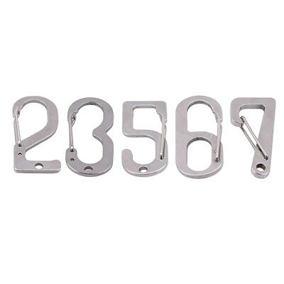 Number Shape Carabiner Clip Hook Key Chain Gray for Outdoor Camping Hiking B