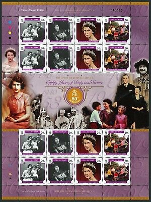Isle Of Man Queen's 80th Birthday Complete Intact  Sheet. Pristine.