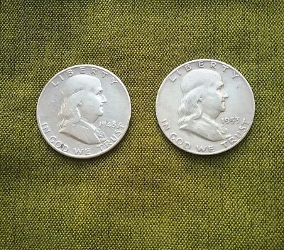 USA Franklin Half Dollars 1948D and 1953, 90% Silver