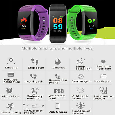 Impermeable Ritmo Cardíaco Inteligente Reloj Pulsera Smartwatch IP68 para Iphone