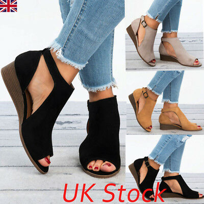 UK Women Wedge Heels Summer Sandals Ladies Peep Toe Boots Casual Stylish Shoes