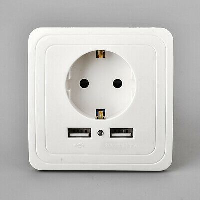 Dual USB Port 2A Wall Charger Adapter AC DC EU Plug Socket Power Outlet Panel