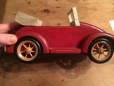 Punch Buggy Car >> Vintage Folk Art Solid Wood Beetle Convertible Car Red Punch