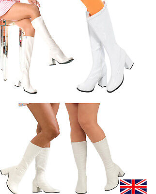 cfd05906f1c New White Shinny GoGo Boots Women s Retro Knee High Boots UK Size 3 To 12