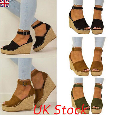 Womens Ladies Flatform Cork Espadrille Sandals Wedge Lace Up Ankle Shoes Size UK