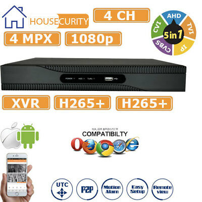 XVR DVR 5in1 AHD CVI TVI CVBS IP 4 CANALI UTC FULL HD 1080P P2P CLOUD 4 MPX HDMI