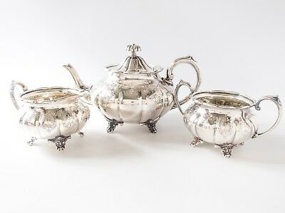 Antique Silver Plate Tea Set Hand Chased LP & Co Sheffield England
