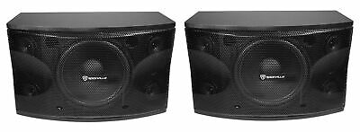 "Pair Rockville KPS12 12"" 3-Way 1600 Watt Karaoke Speakers+Wall Brackets / MDF!"