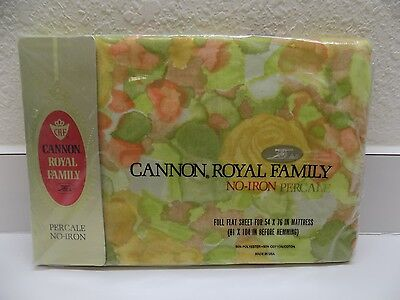 Cannon Royal Family Full Flat Sheet WATERCOLOR ROSE Percale New SEALED USA Vtg