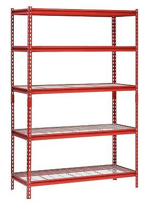 "Muscle Rack 5 Shelf Steel Shelving Unit 48"" x 24"" x 72"" Red Metal Storage Rack"