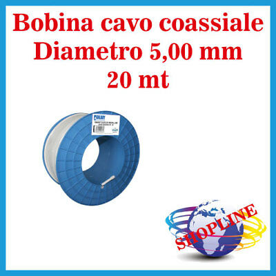 CAVO MATASSA COASSIALE 20 MT ANTENNA TV SATELLITARE DIGITALE TERRESTRE 5,00 mm