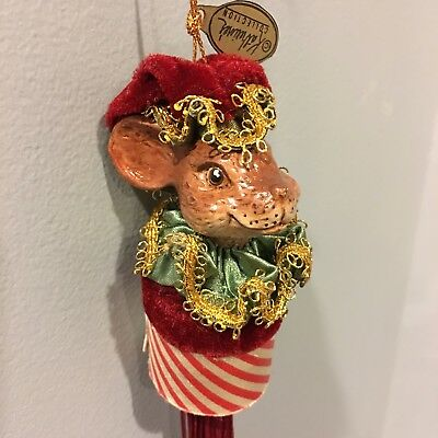 """Katherines Collection Retired 6"""" Christmas Mouse Container Ornament Wayne Kleski"""