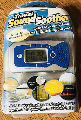 Travel Sound Soother Clock Alarm 8 White Noise Nature Sounds Home or Travel New