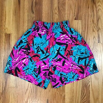 VTG 80s High Waisted Board Shorts Splatter Scribbles L Gear 1 AJ