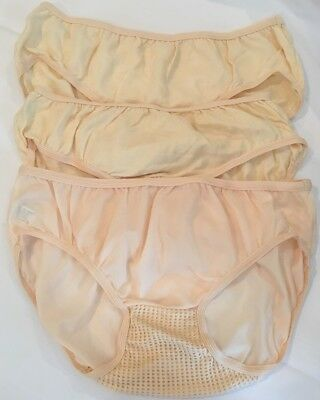 Vtg Playtex Cool N' Dri Panty Panties Bikini 3 pr lot  Sz S Low Bikini Peach 32""