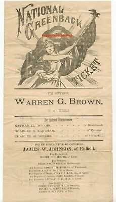 1880 National Greenback Election Ticket Broadside Illustrated New Hampshire Nice