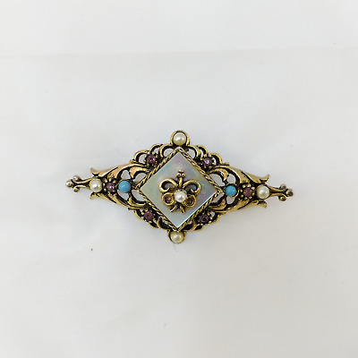 Vintage Arthur Pepper ART(c) Signed Ornate Beautiful Brooch Pin Mother of Pearl