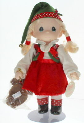 "Precious Moments Doll 12"" Little Girl Santa's Helper Elf with Teddy Bear"