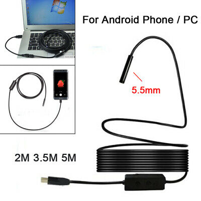 5.5mm USB Endoscope Borescope Inspection Tube Camera For Android Mobile UK L4U