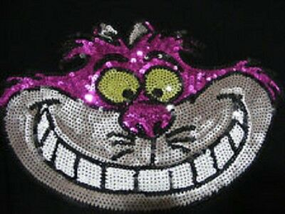 Disney Sequin Cheshire Cat Long Sleeve Black Tee Shirt Top Large New With Tags