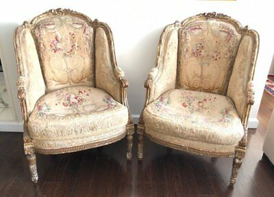 A Pair of French Napoleon III Giltwood Tub Armchairs c.19th century.