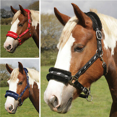 Rhinegold Horse Headcollar with Logo and Fur Trim - Black, Navy or Red - 4 Sizes