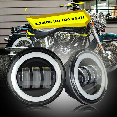 "4-1/2"" 4.5Inch Fog Lights HALO Chrome LED Passing Lamps Harley Davidson Driving"