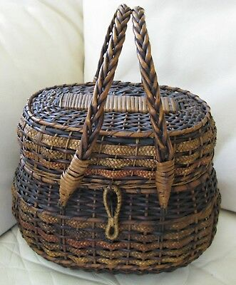 Antique Victorian FRENCH Country Market Covered Purse Sewing Woven Basket 1800s