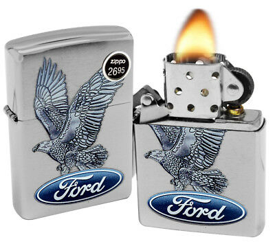 Zippo 29296 Ford Motor Company Eagle Brushed Chrome Finish Windproof Lighter New