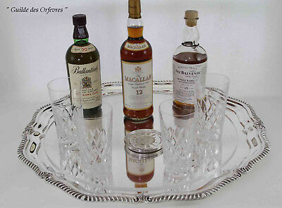 Round Shaped Tray, Gadroon, Set of 6 Coasters & Diamond Cut Tumblers