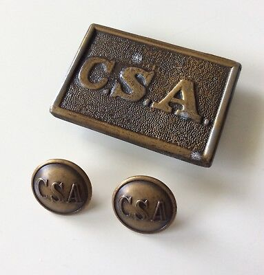 CIVIL WAR Buttons Belt Buckle Set - CSA Confederate States - Waterbury USA REPRO