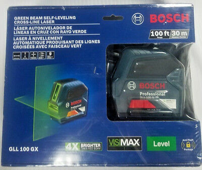 NEW Bosch GLL 100 GX Green Beam Self-Leveling Cross Line Laser 100FT SEALED