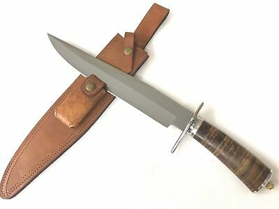 Andre Ronald Bowie Knife Fixed Blade D2 Steel Stacked Leather + Sheath LXO-836